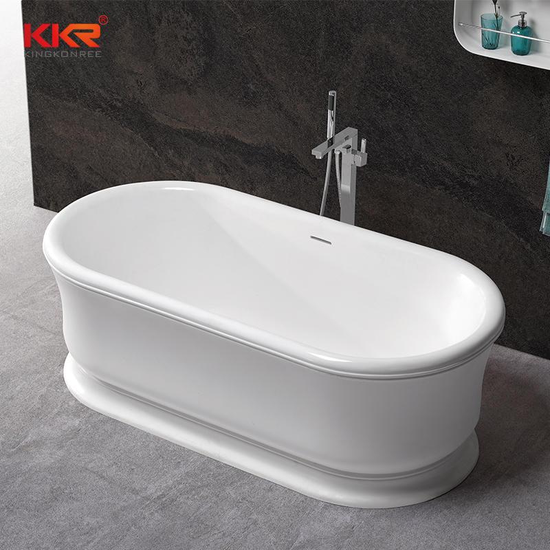 1820mm Length White & Black Solid Surface Bathtub KKR-B076