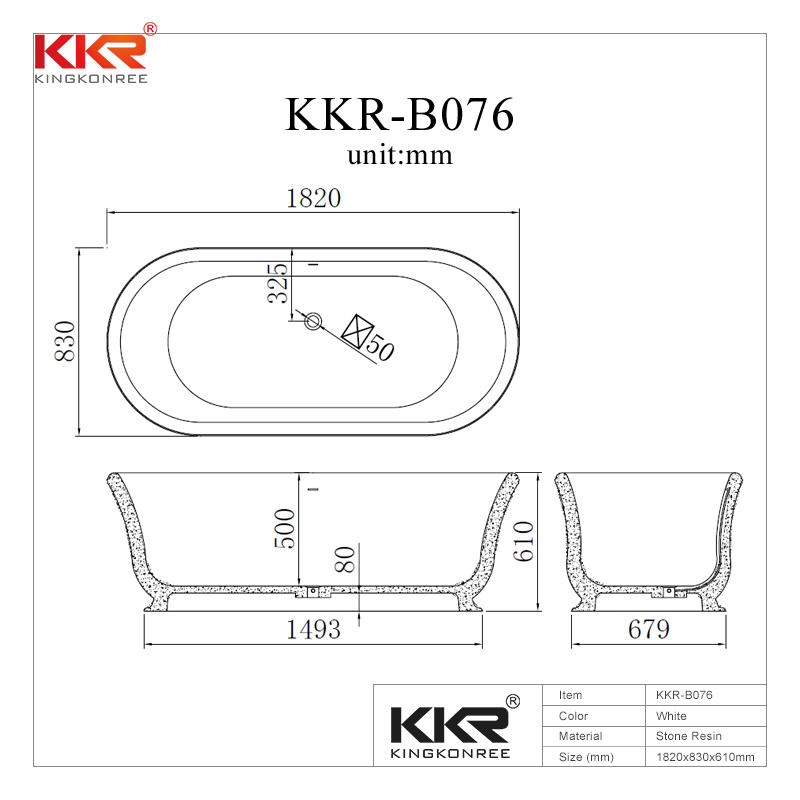 1820mm Length White & Black Solid Surface Bathtub KKR-B076