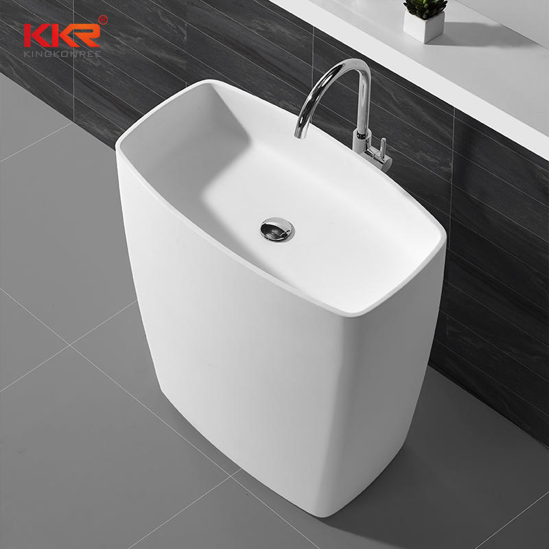 855mm Height Rectangle White Marble Solid Surface Freestanding Basin KKR-1586