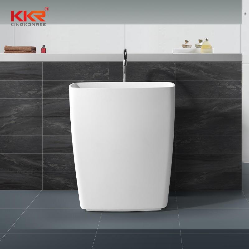 Altura de 855 mm Rectángulo Mármol blanco Superficie sólida Lavabo independiente KKR-1586