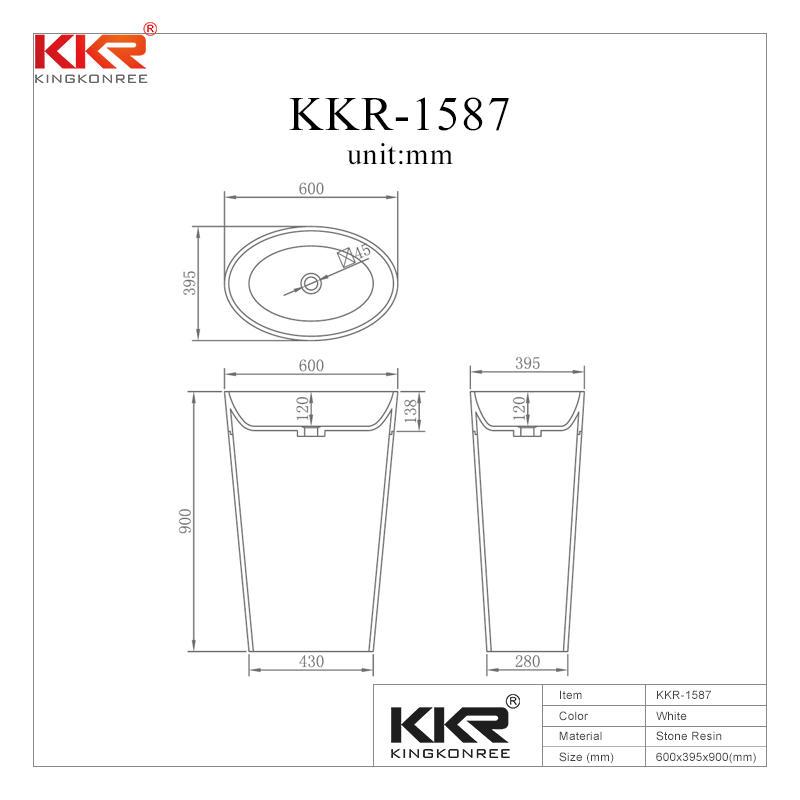Oval Shape White Solid Surface Bathroom Freestanding Basin KKR-1587