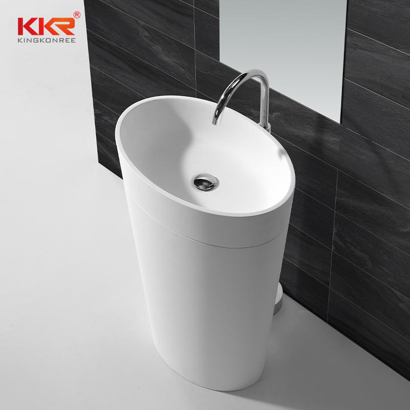 Oval Shape White Solid Surface Bathroom Freestanding Basin KKR-1587
