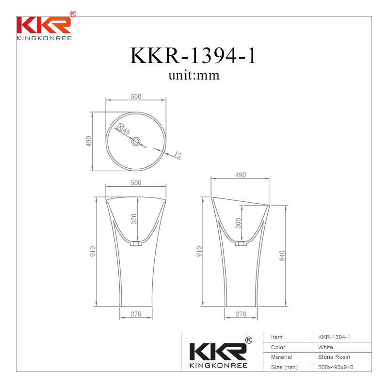 910mm Height Round Solid Surface Freestanding Basin KKR-1394-1