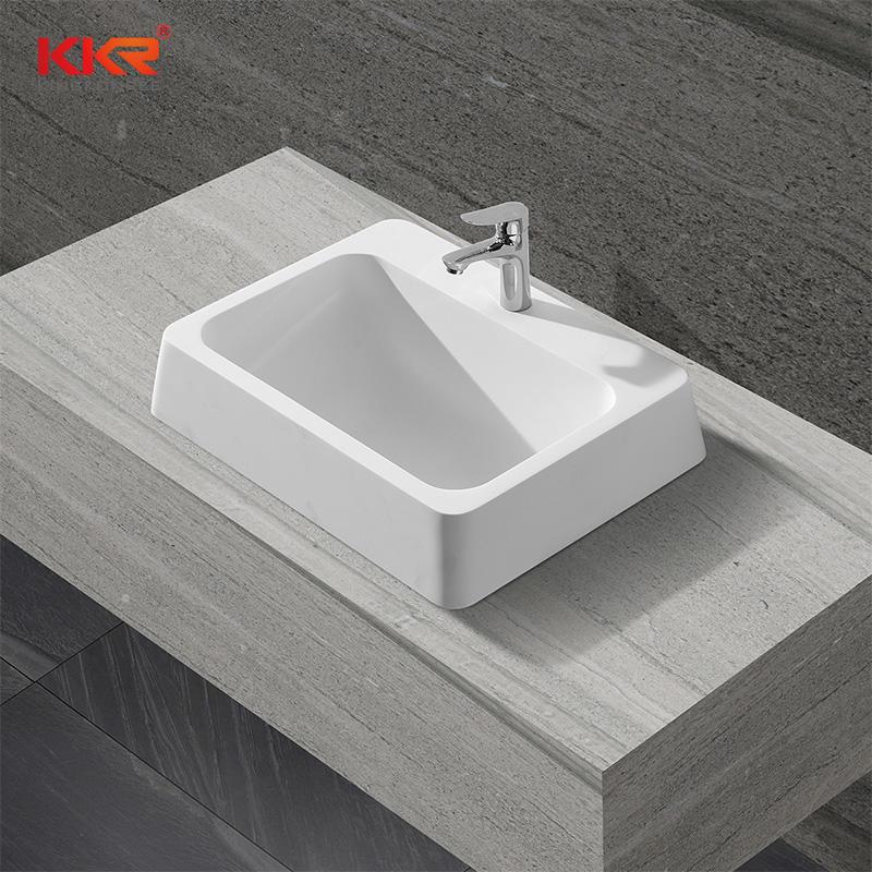 Rectangle High Quality Acrylic Soild Surface Above Counter Basin KKR-1326
