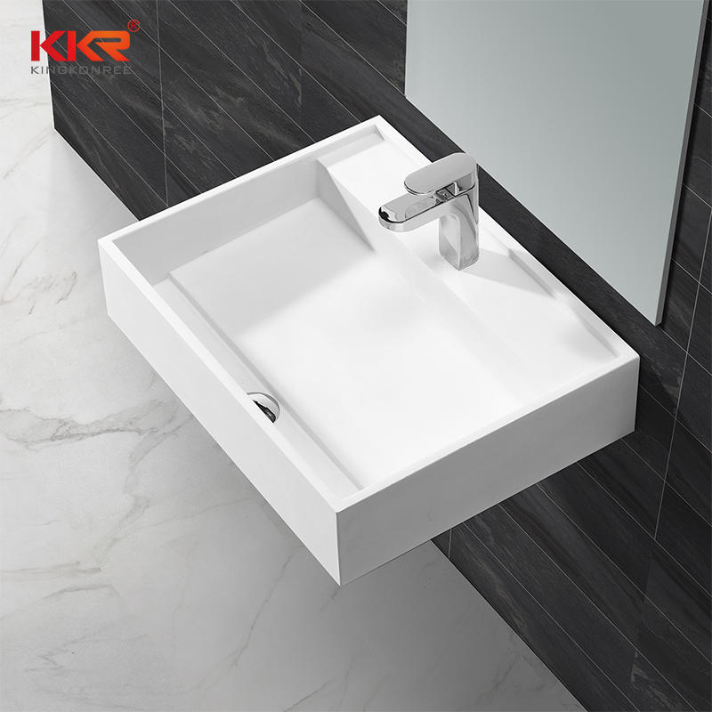 Newly Design White Acrylic Solid Surface Wall Hung Basin KKR-1348