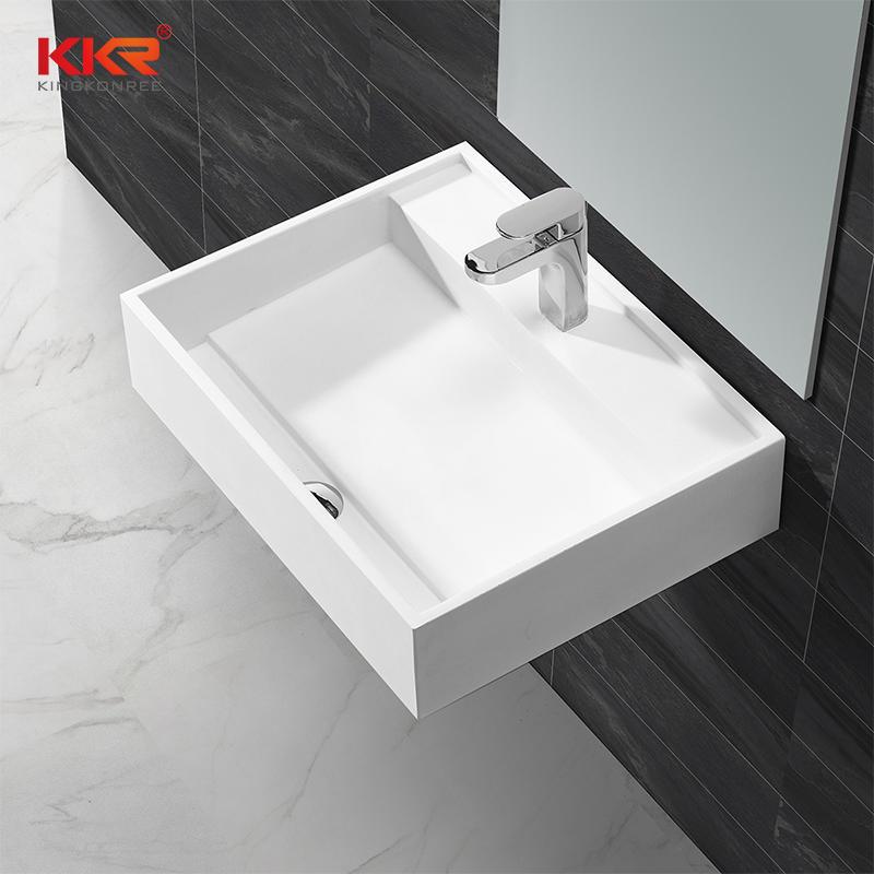 Recién diseñado Lavabo suspendido de acrílico blanco de superficie sólida KKR-1348