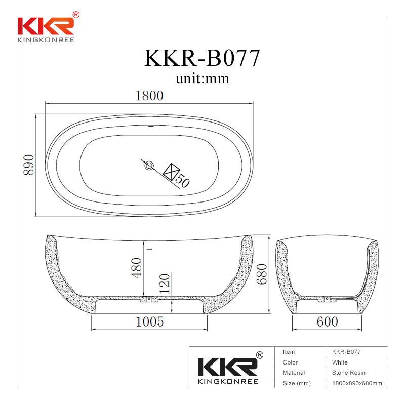 Newly Developed Acrylic Resin Stone Solid Surface Freestanding Bathtub KKR-B077