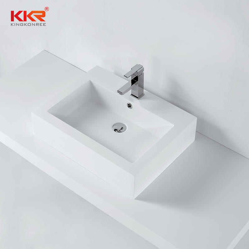 Solid Surface Resin Stone Above Counter Wash Basin With Overflow KKR-1357