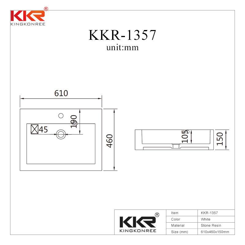 Lavabo sobre encimera de piedra de resina de superficie sólida con rebosadero KKR-1357