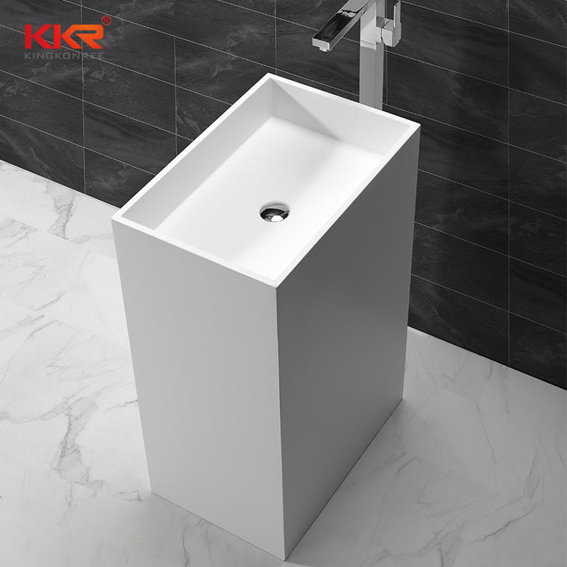 900mm Height Rectangle White Marble Solid Surface Freestanding Basin  KKR-1590