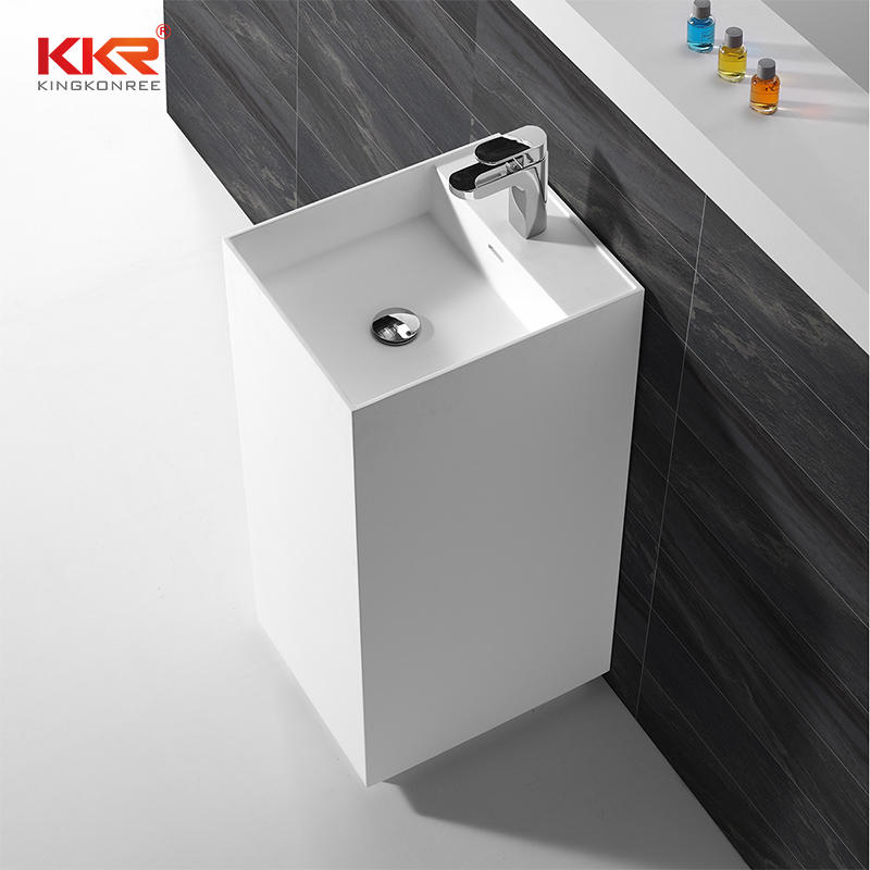 Customized Dimension Acrylic Stone White Solid Surface Freestanding Basin KKR-1589