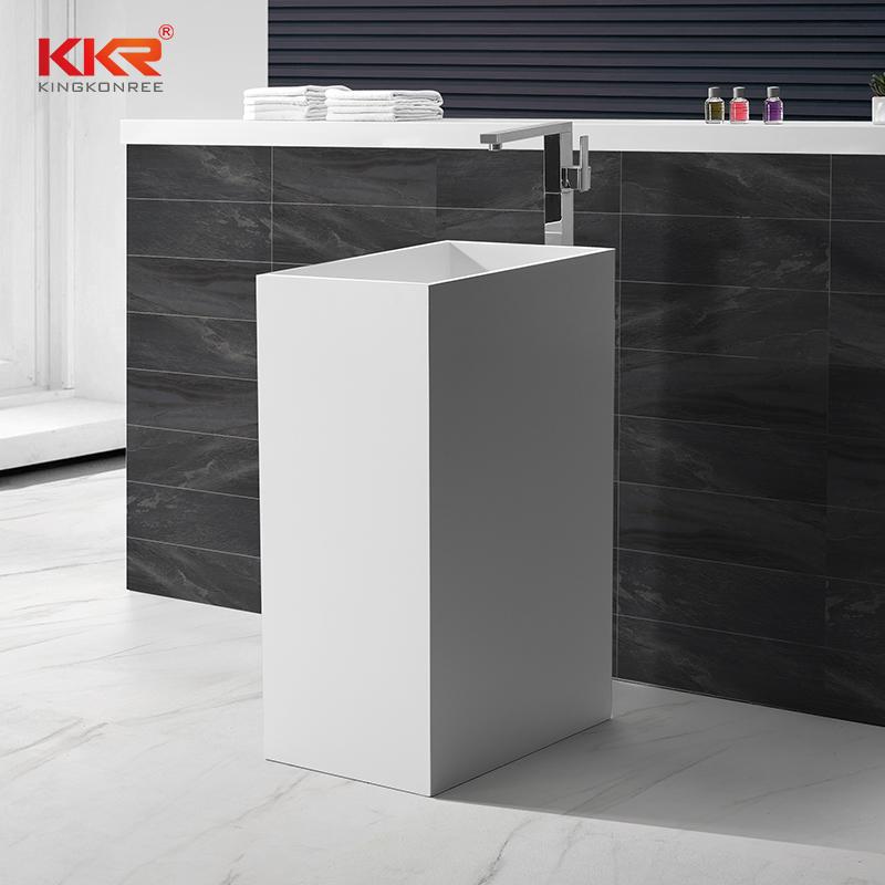 Dimensión personalizada Acrílico Piedra Blanco Superficie sólida Lavabo independiente KKR-1589