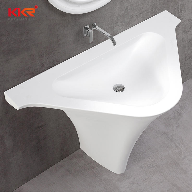 Lavabo independiente triangular de superficie sólida de mármol blanco KKR-1595