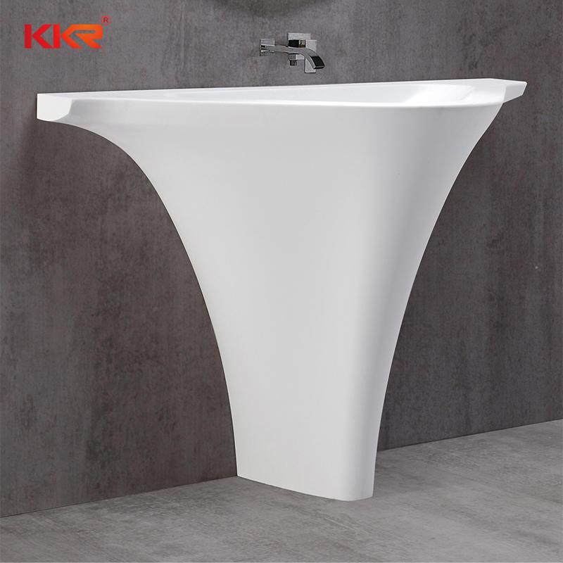 Lavabo independiente triangular de superficie sólida de mármol blanco KKR-1595