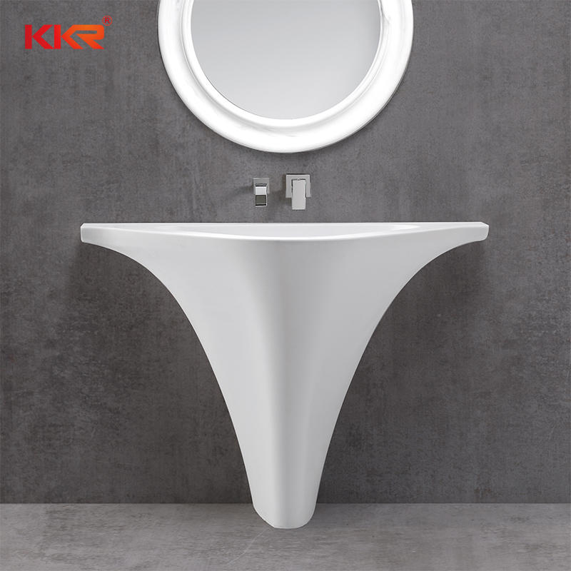 Triangle Solid Surface White Marble Freestanding Wash Basin KKR-1595