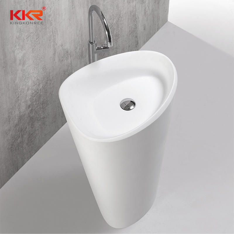 Hot Sales White Marble Acrylic Solid Surface Stone Resin Freestanding Basin KKR-1596