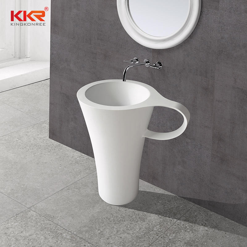 Unique Design Cup Shape Acrylic Solid Surface Freestanding Basin  KKR-1599