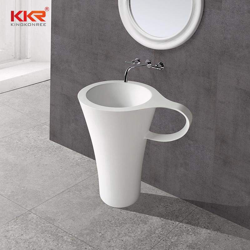Diseño único Copa Forma Acrílico Superficie sólida Lavabo independiente KKR-1599