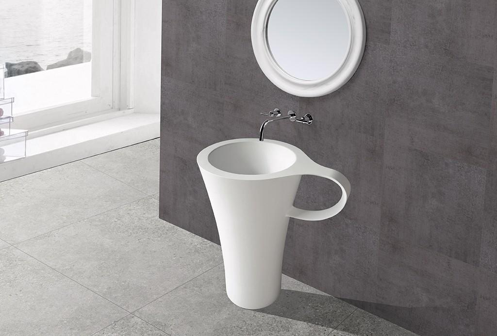 resin free standing wash basin supplier for hotel