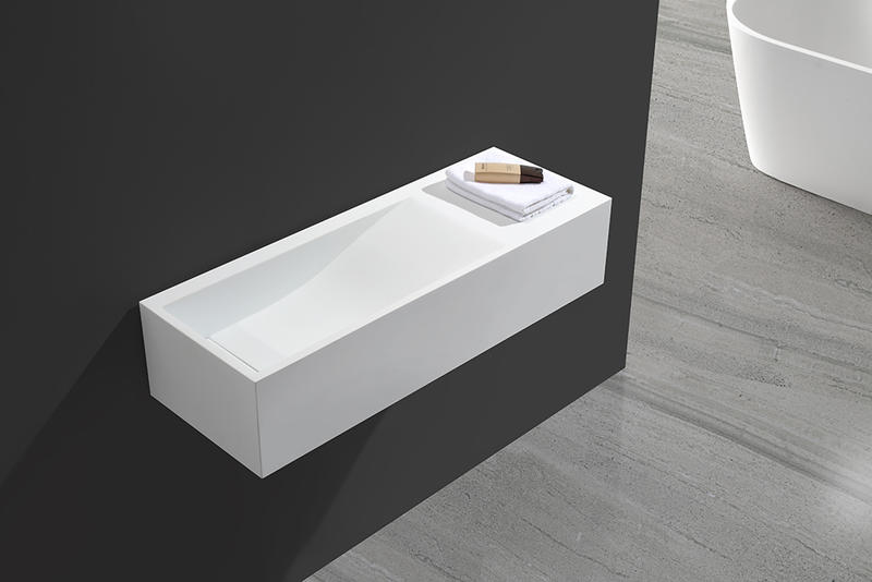 White Acrylic Stone Resin Solid Surface Wall Huang Basin KKR-1336