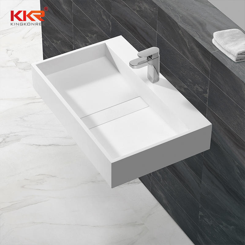 Best Sales White Marble Solid Surface Acrylic Stone Wall Mounted Wash Basin KKR-1337