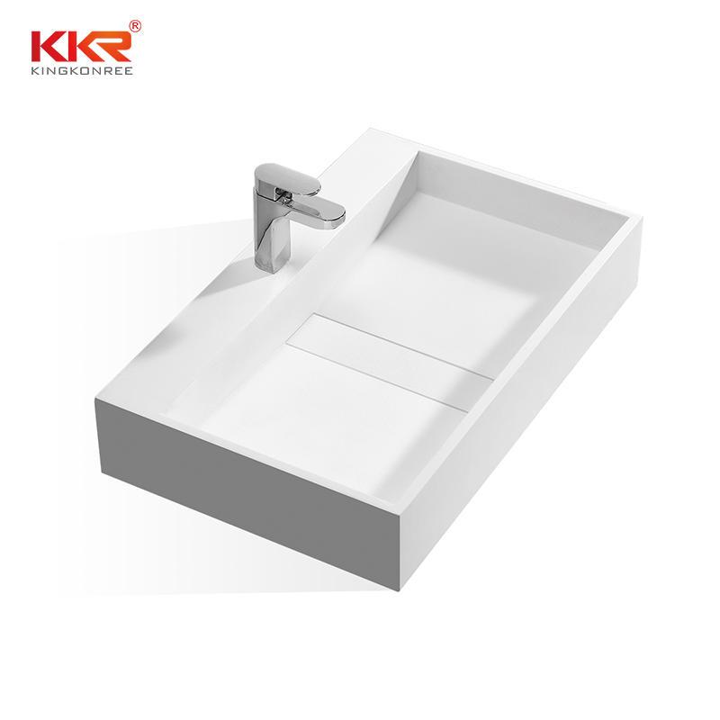 Las mejores ventas de mármol blanco superficie sólida piedra acrílica lavabo montado en la pared KKR-1337