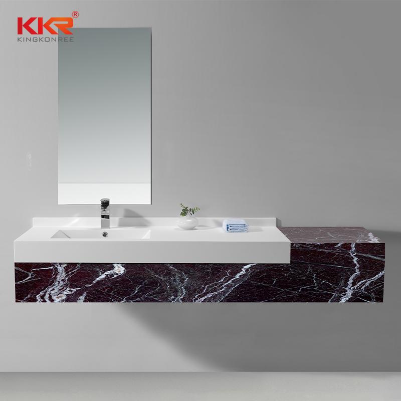 Lavabo de gabinete de superficie sólida de piedra acrílica blanca con acabado mate o brillante KKR-1342