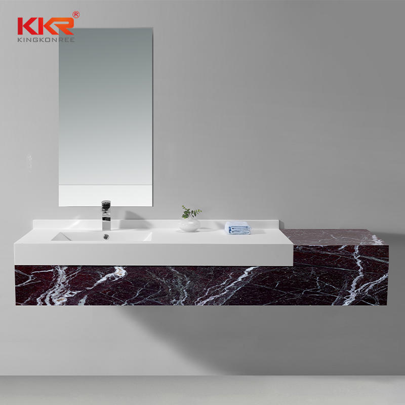 White Acrylic Stone Solid Surface Cabinet Wash Basin With Matt Or Glossy Finish KKR-1342