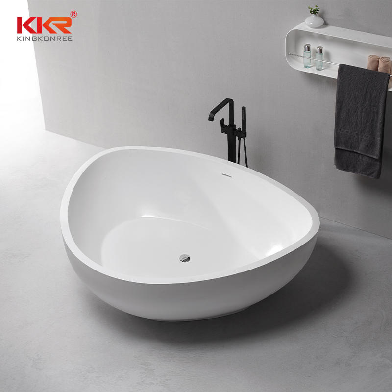 Triangle Shape White Marble Acrylic Stone Solid Surface Freestanding Bathtub KKR-B080