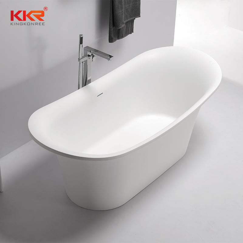Elegant White Acrylic Solid Surface Freestanding Soaking Bathtub KKR-B082