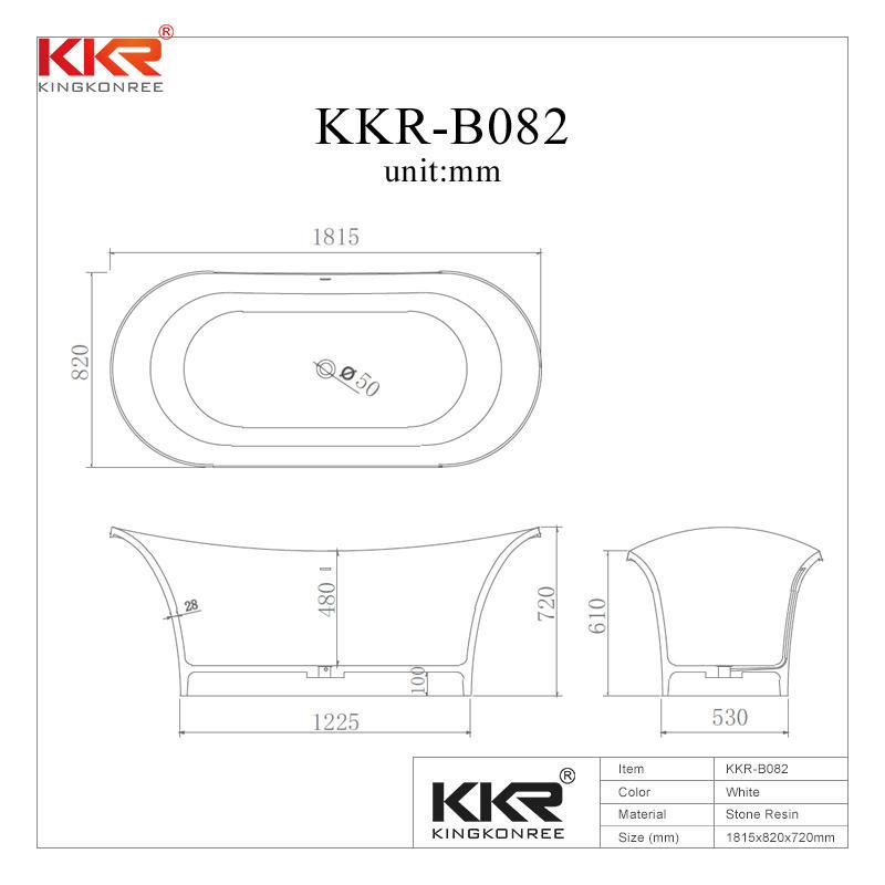 Elegante bañera de remojo independiente de superficie sólida de acrílico blanco KKR-B082