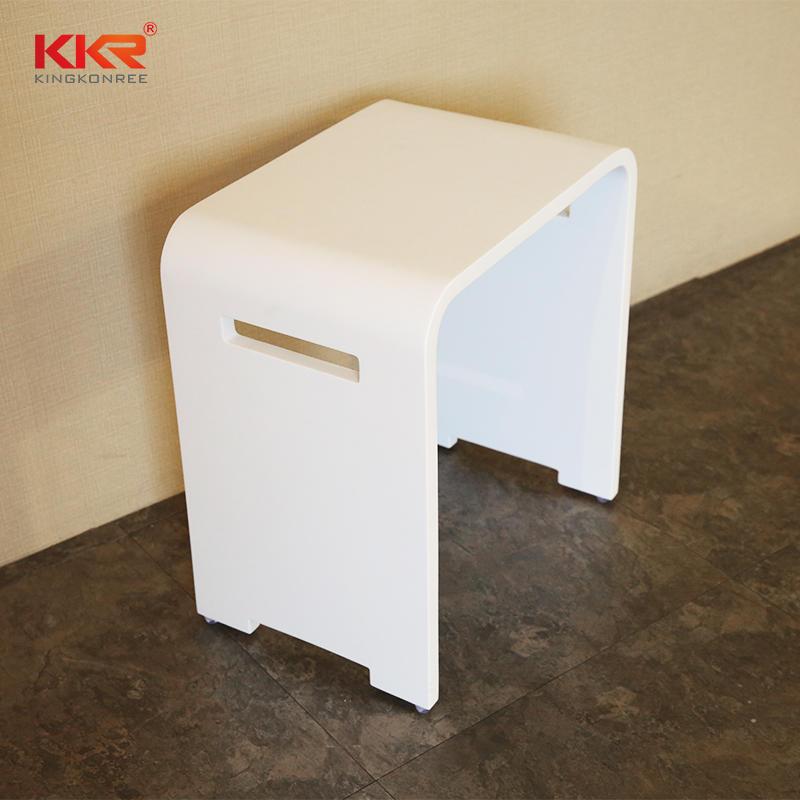 Taburete de baño de mármol blanco de superficie sólida de ventas calientes KKR-Stool-K
