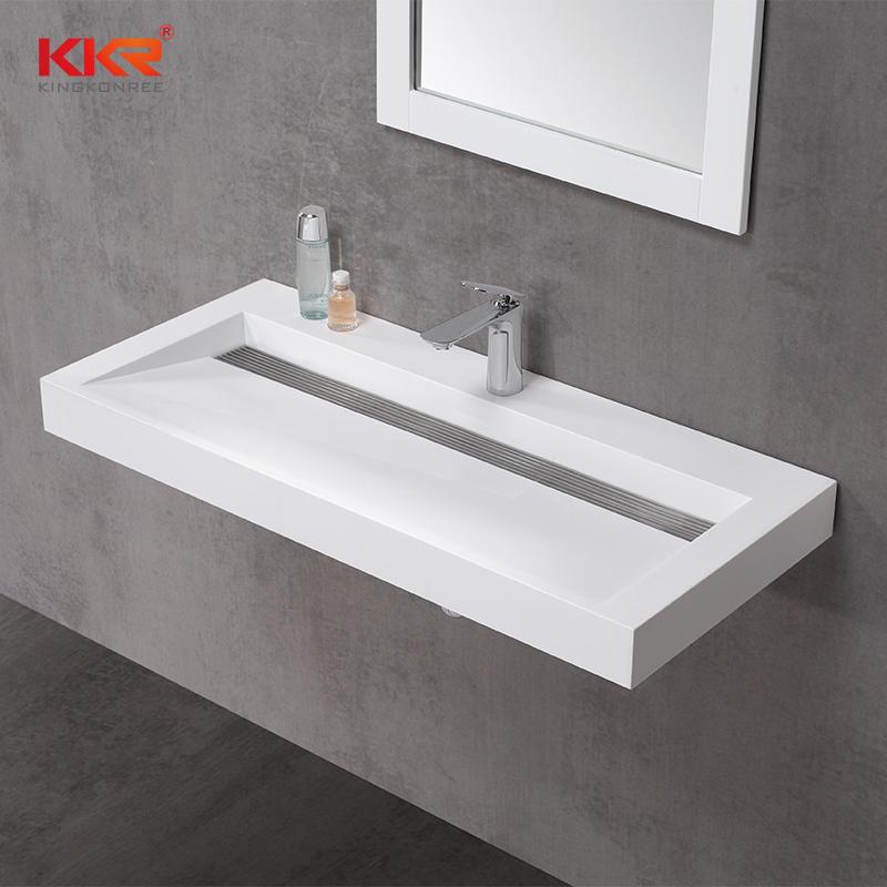 Diseño de lujo de alta gama de piedra acrílica blanca superficie sólida cuenca suspendida KKR-1263-1