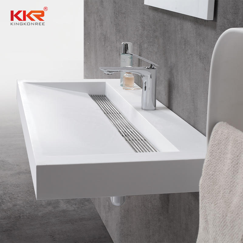 Luxury Design High-end White Acrylic Stone Solid Surface Wall Hung Basin KKR-1263-1