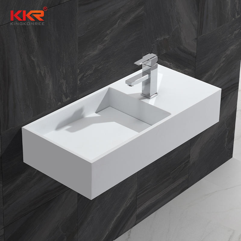 Alta calidad Gel-coat Stone Resin Solid Surface Wall Hang Basin KKR-1364