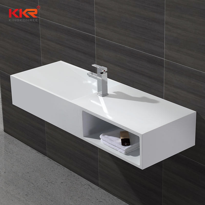 High-end Smooth Surface Acrylic Solid Surface Wall Hung Basin With Storage Box KKR-1365