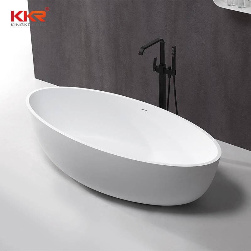 White modern stone bath tub and solid surface freestanding bathtub KKR-B088