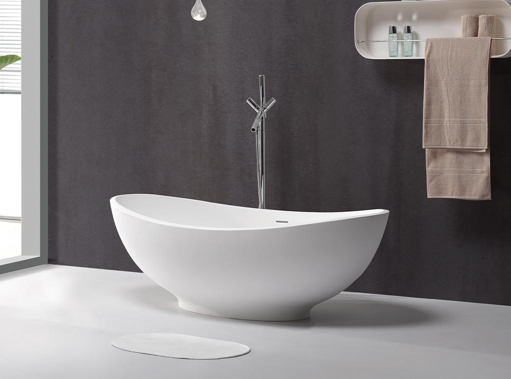 KKR-B089 standing solid surface bath tub factory China manufacture bathtub