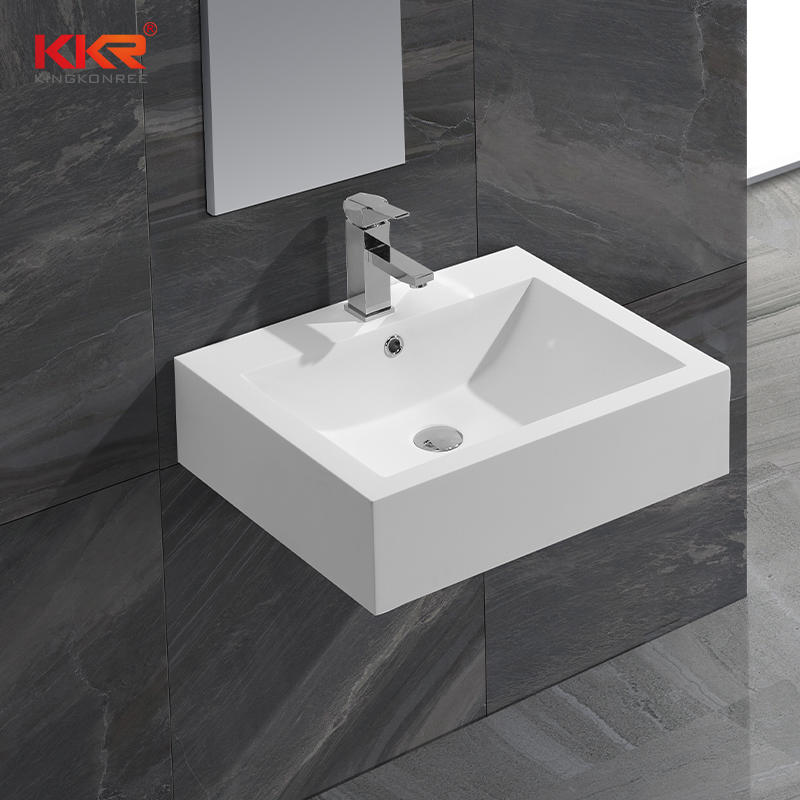 Thin Solid Surface Modern Stone Washbasin For Bathroom Cabinet / Wall Hung KKR-0621B