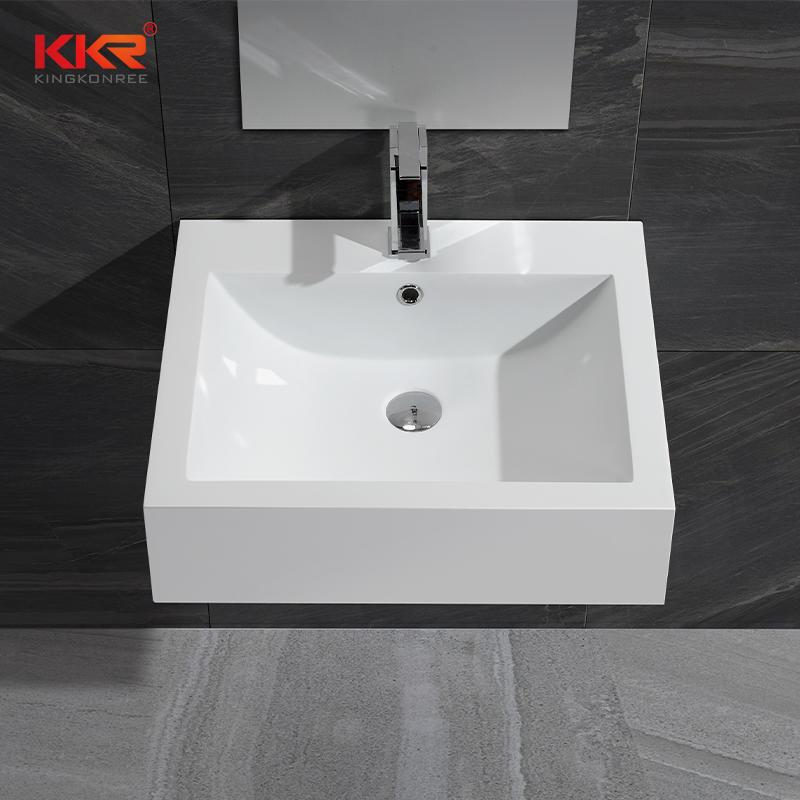 Thin Solid Surface Modern Stone Washbasin For Bathroom Cabinet / Wall Hung KKR-0612B