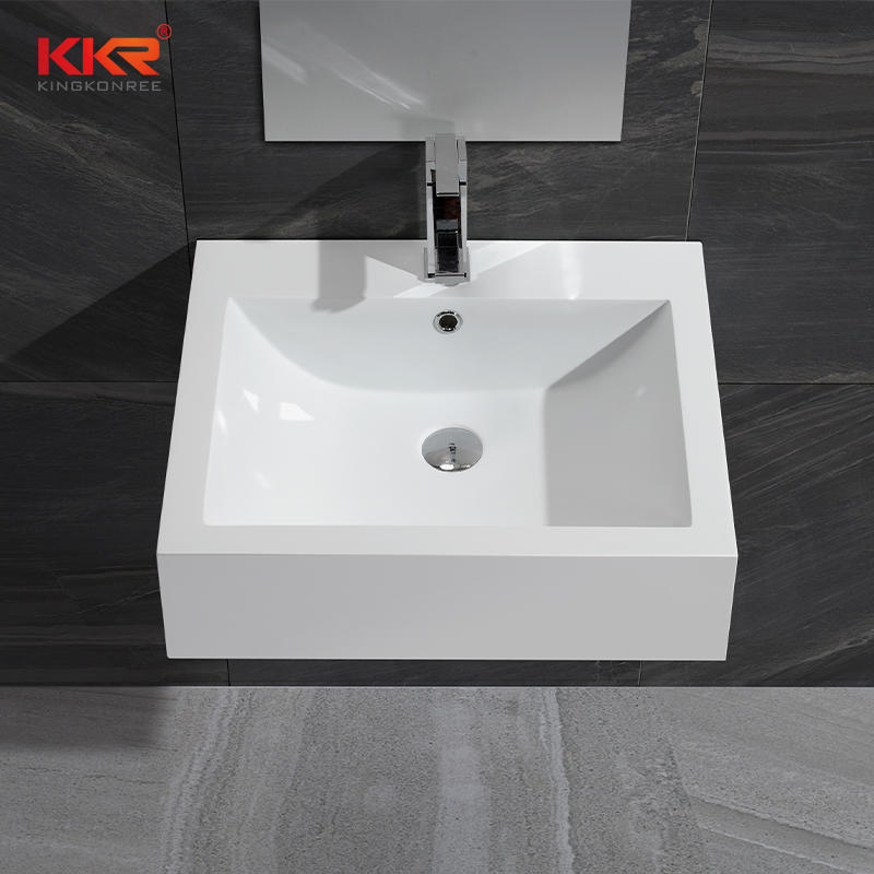 Thin Solid Surface Modern Stone Washbasin For Bathroom Cabinet / Wall Hung KKR-0612B