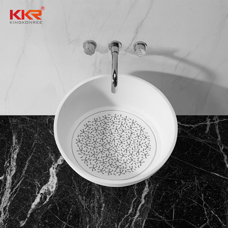 Custom Modern White Artificial Marble Bathroom Sink Wash Basin KKR-1514