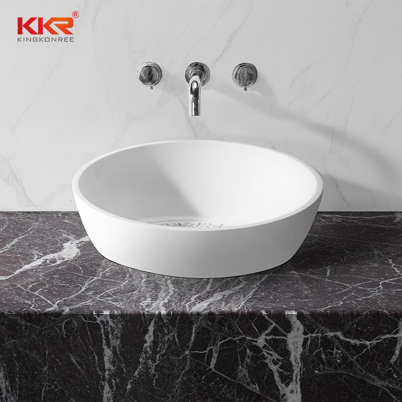 Custom Modern White Artificial Marble Bathroom Sink Wash Basin KKR-1514