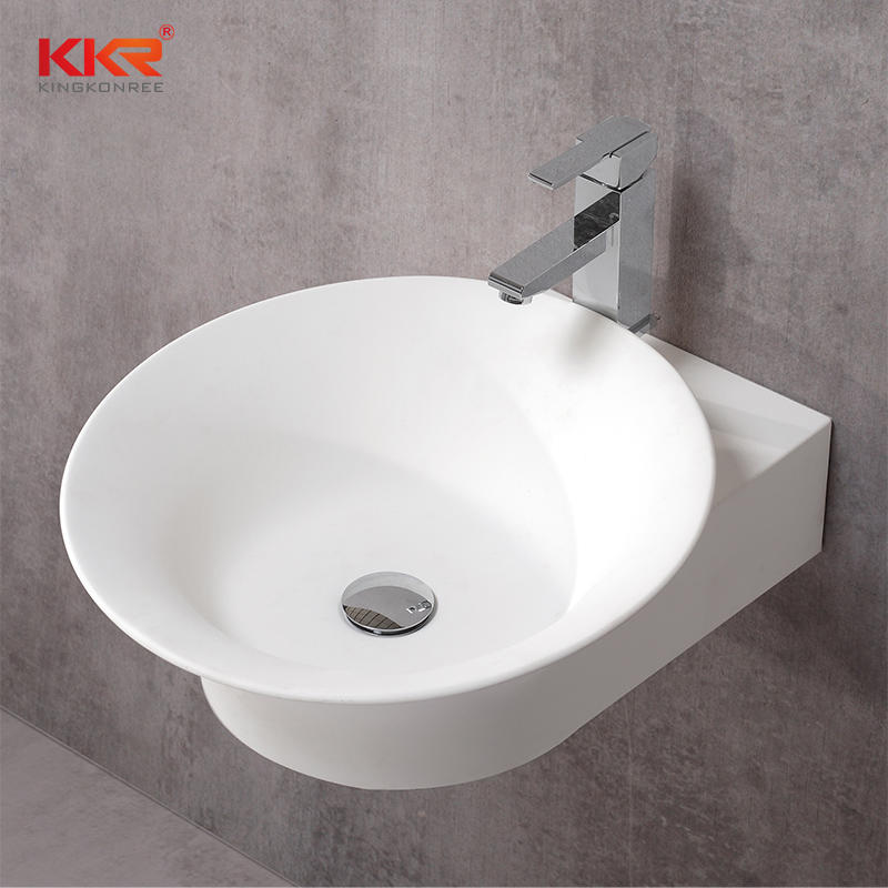 Unique design modern wall hung solid surface stone white washbasin for bathroom KKR-1068