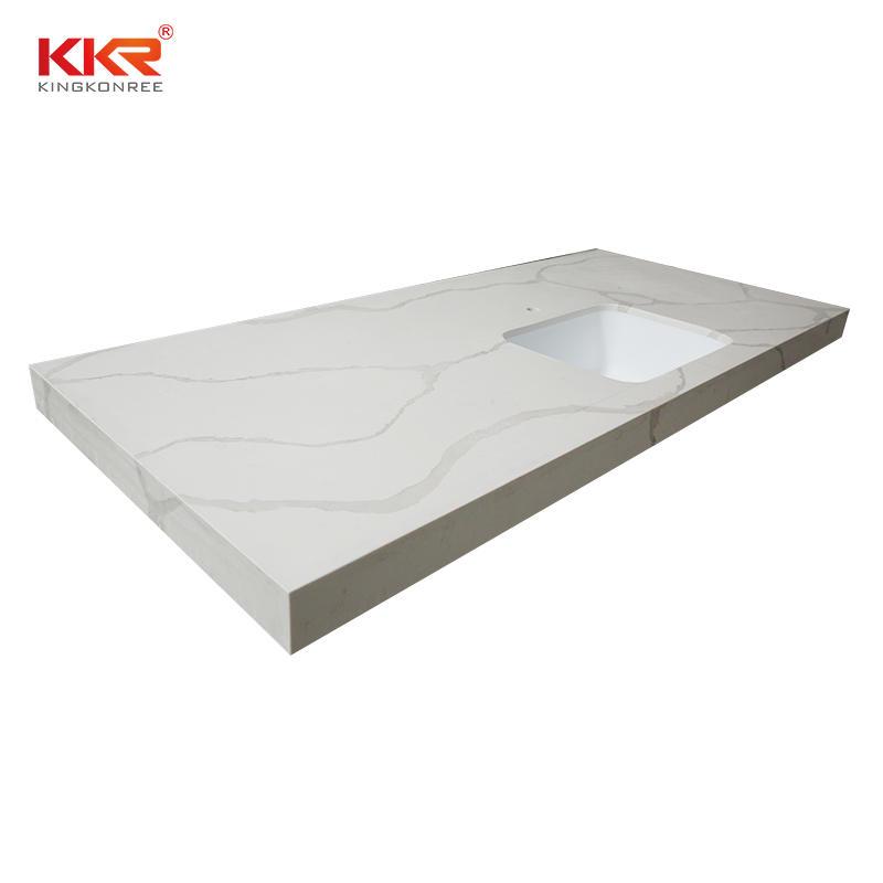 Luxury Design Calacatta White Quartz Slab Kitchen Countertop