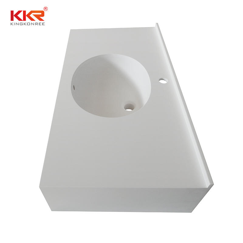 Wall Hung Design White Marble Acrylic Solid Surface Bathroom Vanity Top With Towel Hanger