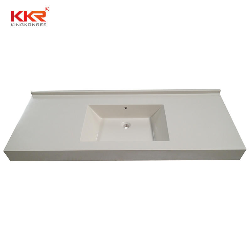 Rectangle Beige White Solid Surface Bathroom Vanity Counter Top
