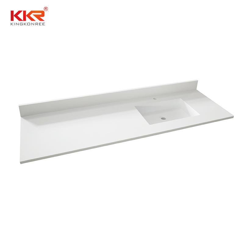 Solid surface bathroom vanity top with wash basin