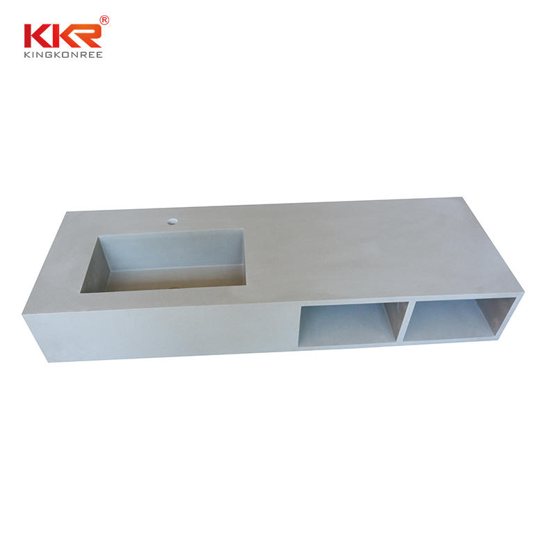 Good sale artificial stone solid surface vanity basin with storage box for bathroom