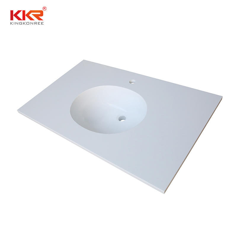 White artificial marble integrated one piece bathroom vanity counter top with undermount sink